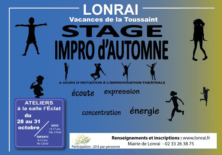 Stage d'initiation théâtrale –  Enfants et Adolescents – 28 au 31  OCTOBRE 2019