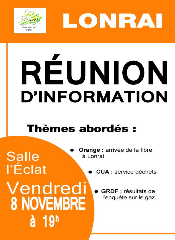 RÉUNION D'INFORMATION – 8 NOVEMBRE 2019
